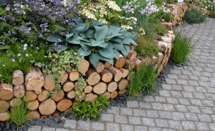 Natural wooden border from a Chelsea Flower Show garden